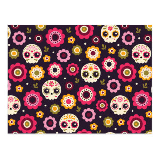 Mexican Sugar Skull Floral Pattern Postcard