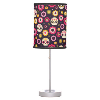Mexican Sugar Skull Floral Pattern Table Lamp