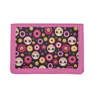 Mexican Sugar Skull Floral Pattern Tri-fold Wallet