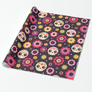 Mexican Sugar Skull Floral Pattern Wrapping Paper
