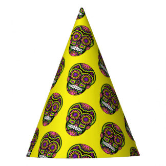 Mexican Sugar Skull Pattern Day Of The Dead Party Hat