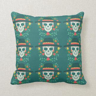 Mexican Sugar Skull Throw Pillow