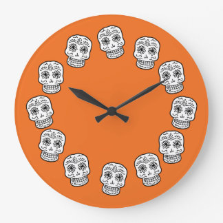 Mexican Sugar Skulls Large Clock