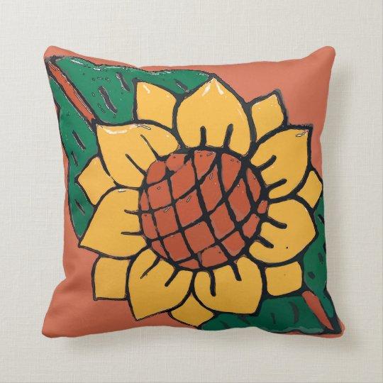 Mexican Sunflower Tile Throw Pillow