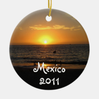 Mexican Sunset; Mexico Souvenir Round Ceramic Ornament