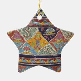 Mexican Talavera style pottery Ceramic Star Ornament