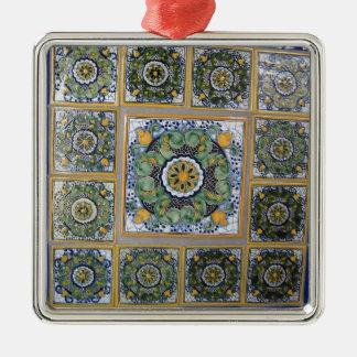 Mexican Talavera style tiles Silver-Colored Square Ornament