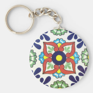 Mexican Talavera tile (red, green, yellow, blue) Keychain