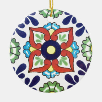 Mexican Talavera tile (red, green, yellow, blue) Round Ceramic Ornament