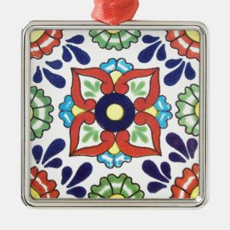 Mexican Talavera tile (red, green, yellow, blue) Silver-Colored Square Ornament
