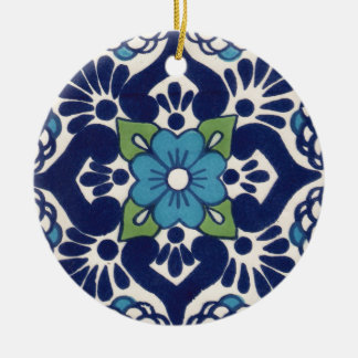 Mexican Talavera Tile Round Ceramic Ornament