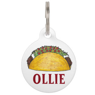 Mexican Tex Mex Food Taco Tuesday Foodie Pet Dog Pet ID Tag