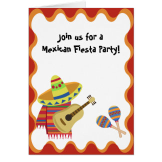 Mexican Theme Note Card Party Birthday Invitation