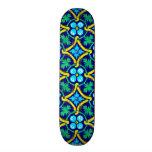 Mexican Tile Design Teal Yellow Floral Print Custom Skateboard