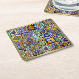 Mexican Tiles Square Paper Coaster