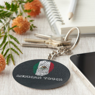 mexican touch fingerprint flag basic round button keychain