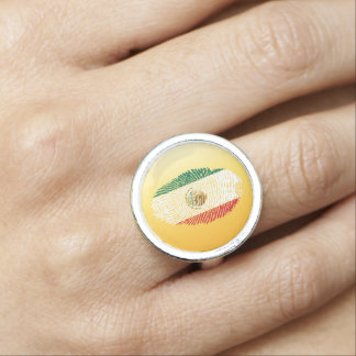 Mexican touch fingerprint flag rings