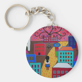 Mexican Town by Prisarts Basic Round Button Keychain