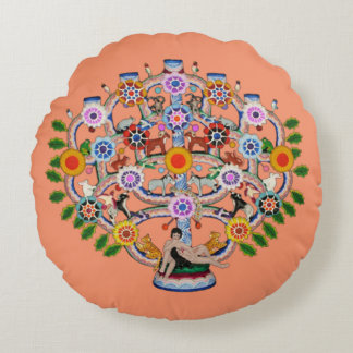 Mexican Tree of Life Round Pillow