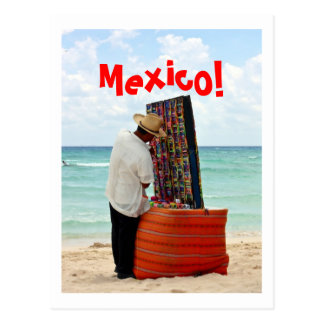 mexican vendor on beach postcard