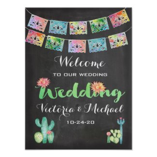 Mexican Watercolor cactus banner Wedding Sign