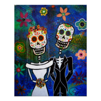 Mexican Wedding  Folk Art Painting Poster