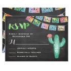 Mexican Wedding Watercolor Cactus RSVP Card