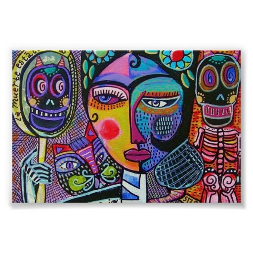 Mexican Woman Mirror Skeleton Poster