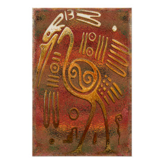 Mexicano Gold Chrome Tribal Art Poster