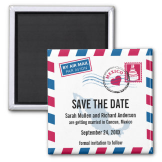Mexico Air Mail Wedding Save the Date Magnet