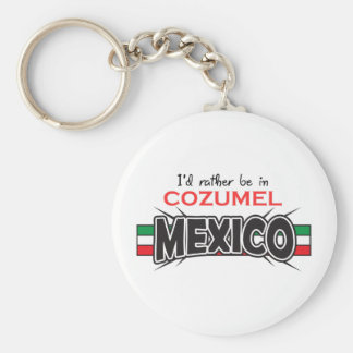MEXICO APPLIQUE COZUMEL BASIC ROUND BUTTON KEYCHAIN