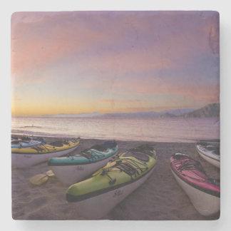Mexico, Baja, Sea of Cortez. Sea kayaks and Stone Coaster