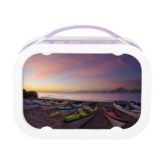 Mexico, Baja, Sea of Cortez. Sea kayaks and Lunchboxes