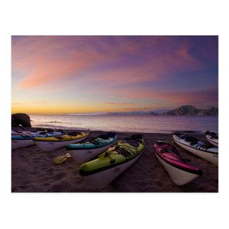 Mexico, Baja, Sea of Cortez. Sea kayaks and Postcard