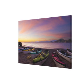 Mexico, Baja, Sea of Cortez. Sea kayaks and Stretched Canvas Print