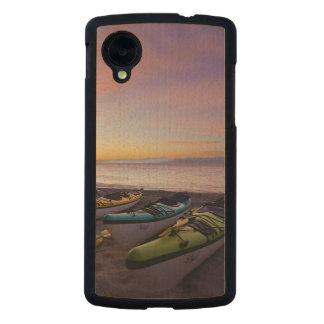 Mexico, Baja, Sea of Cortez. Sea kayaks and Carved® Maple Nexus 5 Slim Case