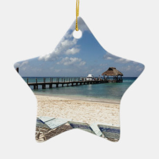 Mexico Beach Scene Ceramic Star Ornament
