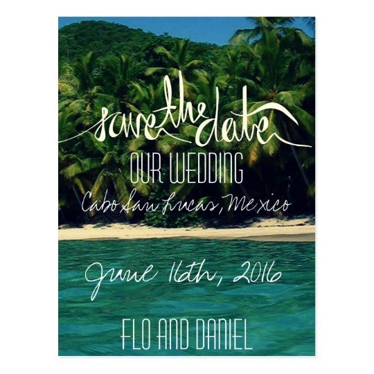 Mexico Beach Wedding Save The Date Postcard