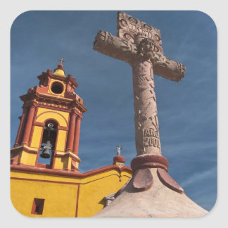 Mexico, Bernal. View of Iglesia de San Sebastian Square Sticker
