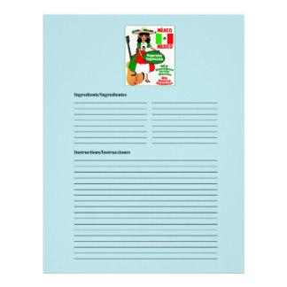 Mexico blank vegetarian recipe cards
