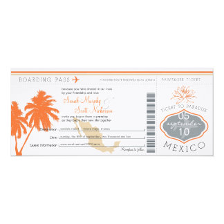 "Mexico Boarding Pass Destination Wedding 4"" X 9.25"" Invitation Card"
