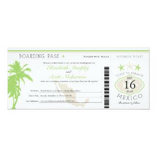 Mexico Boarding Pass Destination Wedding Card
