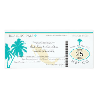 "Mexico Boarding Pass Wedding 4"" X 9.25"" Invitation Card"