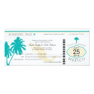 "Mexico Boarding Pass Wedding 4"" X 9.25"" Invitation Card"
