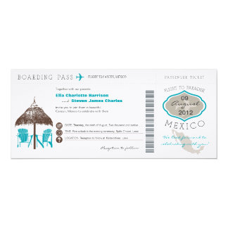 "Mexico Boarding Pass Wedding Invitation 4"" X 9.25"" Invitation Card"
