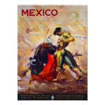 Mexico Bullfighter Vintage Travel Advert Poster