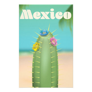 Mexico Cactus travel poster Stationery