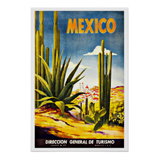 Mexico Cactus Vintage Travel Poster