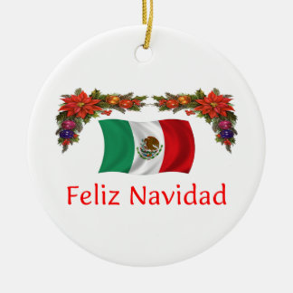 Mexico Christmas Round Ceramic Ornament