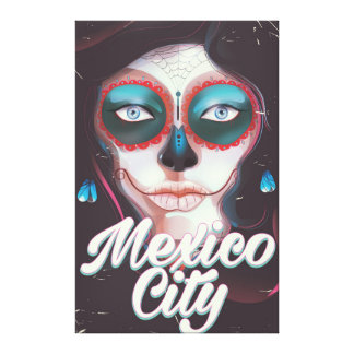 Mexico City Day of the Dead travel poster Canvas Print